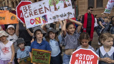 School students participating in the Strike for the Climate in Sydney in September.