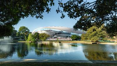 The new Sydney Football Stadium, as viewed from across Kippax Lake.