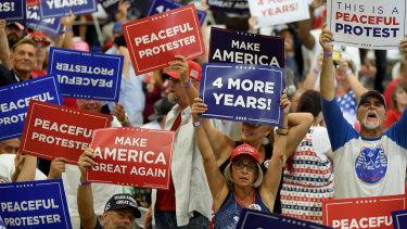 President Donald Trump has held packed indoor rallies, breaching local coronavirus rules.