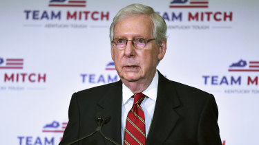 Senate Majority Leader, Republican Mitch McConnell awaits the final results.
