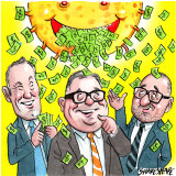 Making it rain: Brian Tyson, Michael Photios and Joe Tannous.