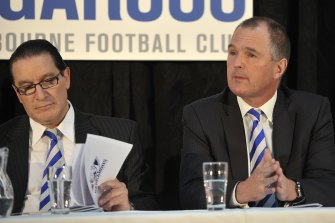 Mark Brayshaw, right, has resigned from the AFL Coaches Association.