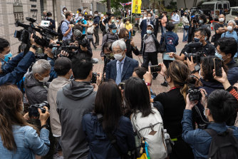 Martin Lee, founder of the Hong Kong Democratic Party, leaves court during a break in a mitigation and sentencing on Friday.
