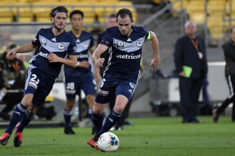 Leigh Broxham in action during Victory's last match before lockdown.