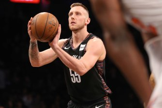 Mitch Creek playing for the Brooklyn Nets in the NBA in 2019.