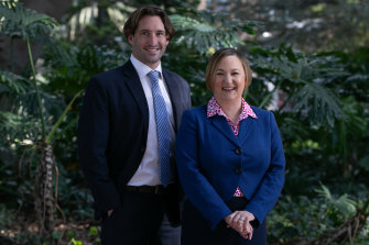 Liberal candidate for Sydney lord mayor Shauna Jarrett and running mate Lyndon Gannon.