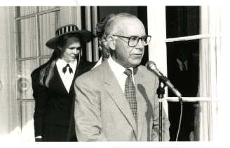 Sam Cullen speaking at the SCEGGS Foundation Day in 1990, when he was chairman.