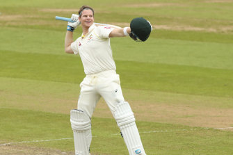 'Bradman incarnate': Australian star batsman Steve Smith celebrates at Edgbaston.