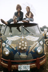 Concert-goers at Woodstock.