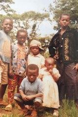 Salomon Lukonga with his sibilings at the  Nyarugusu camp in Tanzania.