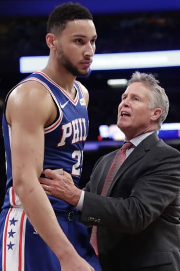 Star gazing: 76ers head coach Brett Brown brought Australia's Ben Simmons into the big time.