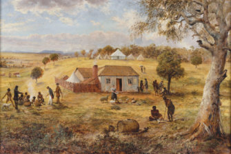 Joseph Anderson Panton painting of Buckley, in dark coat and hat, far left, talking to Kulin people near the Yarra River, 1837.