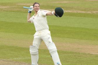 'Bradman incarnate': Australian star batsman Steve Smith celebrates at Edgbaston.