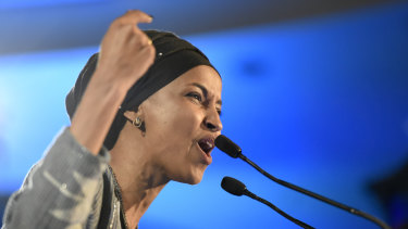 Democrat Ilhan Omar speaks after winning in Minnesota's 5th Congressional District race.