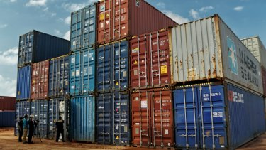 Containers on the port at Batam, Indonesia.