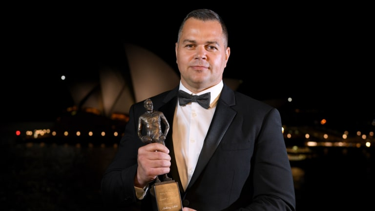 Going places: Rabbitohs coach Anthony Seibold, with his Dally M coach of the year award, will swap clubs with Wayne Bennett in 2020 - or before.