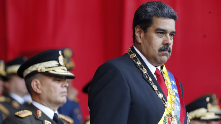 Venezuela's President Nicolas Maduro watches a military parade in May.