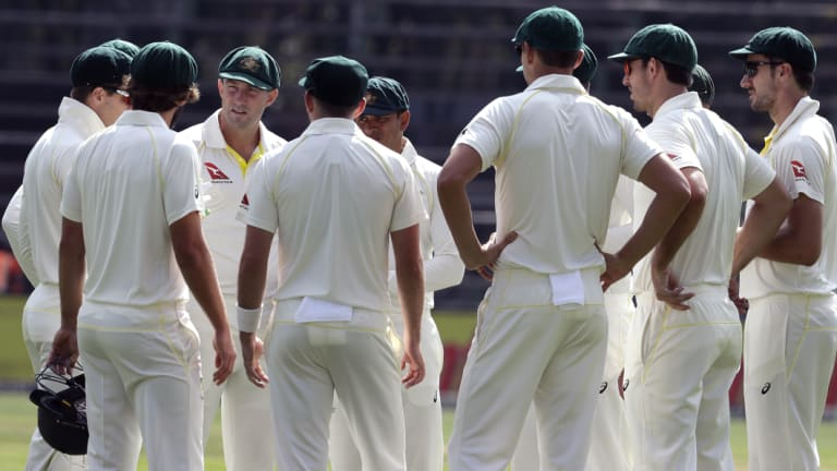 Australian players, at the start of play in the fourth Test against South Africa.