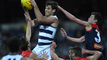 Tower of strength: In-form Geelong forward Tom Hawkins will be a big test for the Melbourne defence.