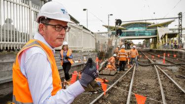 Daniel Andrews at Dandenong station on  Monday.