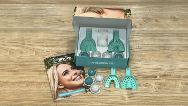 The kit EZ Smile users are sent to set up their clear-aligner braces.