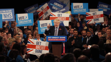 Britain's Prime Minister Boris Johnson speaks during an election campaign event in Birmingham.
