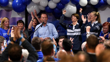 Former prime minister and MP for Warringah Tony Abbott conceding on election night.