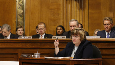 Phoenix prosecutor Rachel Mitchell  questions Christine Blasey Ford as she testifies before the Senate Judiciary Committee on Capitol Hill.