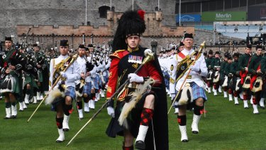 Ready to go: Royal Edinburgh Military Tattoo with performers during rehearsals on Wednesday.