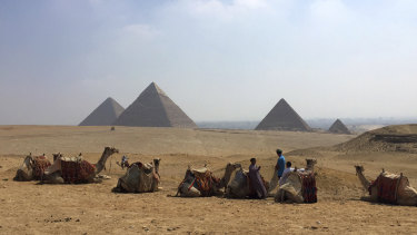 The pyramids in Giza, Egypt.