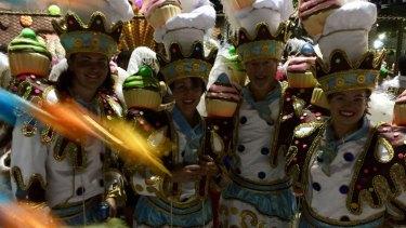 Lia Timson and her family in the  Uniao da Ilha do Governador school at Rio's Carnival.