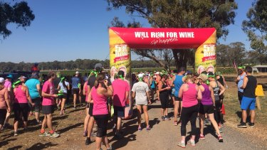 Runners prepare for the the Grapest 5k at Balgownie Estate Wines, near Bendigo.