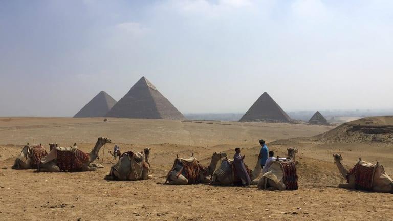The pyramids in Giza, Egypt.