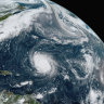 Hurricane Teddy in the Atlantic, centre; tropical depression 22 in the Gulf of Mexico, left; the remnants Paulette, top right; and tropical storm Wilfred, lower right.