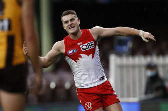 SYDNEY, AUSTRALIA - JULY 25: Tom Papley of the Swans celebrates a goal the round 8 AFL match between Sydney and Hawthorn at Sydney Cricket Ground on July 25, 2020 in Sydney, Australia. (Photo by Ryan Pierse/AFL Photos/via Getty Images)