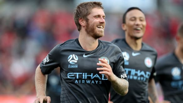 On target: Luke Brattan celebrates putting City 2-0 up.