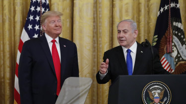 Israeli Prime Minister Benjamin Netanyahu speaks during an event with US President Donald Trump in the White House last month.