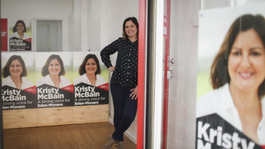 Labor candidate for Eden-Monaro Kristy McBain at her campaign office in Bega, NSW.