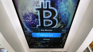 The Bitcoin logo at a store in Salem, New Hampshire.
