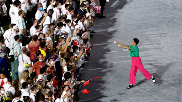 Performer performs during the Closing Ceremony of the Tokyo 2020 Olympic Games.