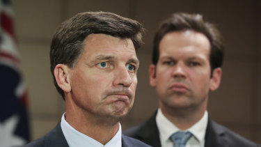 Minister for Energy Angus Taylor and Minister for Resources and Northern Australia Matthew Canavan address the media after the Energy Council meeting.