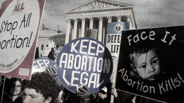 A long-standing debate: Pro-life and pro-choice supporters voice their views on the 31st anniversary of Roe v Wade outside the Supreme Court in 2004.