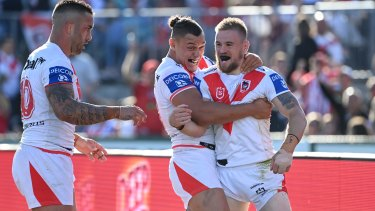 Dufty celebrates after scoring a try against the Warriors at the weekend.