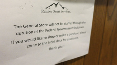 A sign at the National Park Inn at Longmire at Mount Rainier National Park in Washington.