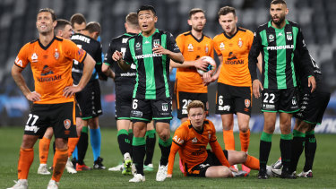 Brisbane Roar players (orange) during the A-League Elimination Final match against Western United at Bankwest Stadium in Sydney on August 23, 2020. The Roar lost 1-0, which ended their A-League season.