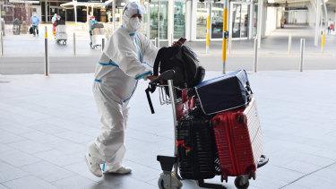International traveller arrives at Sydney Airport