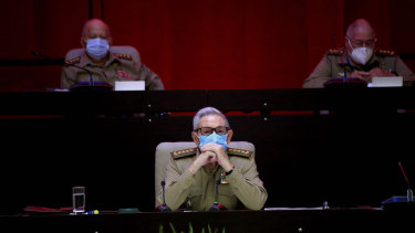 Raul Castro, first secretary of the Communist Party and former president, attends the VIII Congress of the Communist Party of Cuba's opening session, at the Convention Palace in Havana.