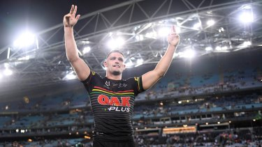 Nathan Cleary thanks the Panthers supporters after Saturday night's preliminary final victory against South Sydney.