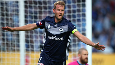 Prolific as he is towering, Ola Toivonen celebrates opening the scoring for the Victory.