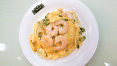 Scrambled eggs with prawns and rice at Kowloon Cafe.